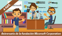 4 de Abril. Aniversario de la Fundación Microsoft Corporation